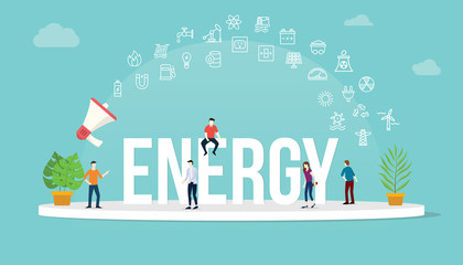 energy concept with team people working together with big text title banner and icon about it spreading flying with loudspeaker - vector