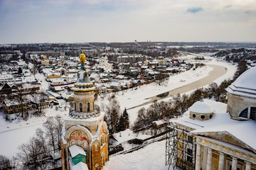 The city of Torzhok of the Tver region, the view from the observation deck. Beautiful view from above.