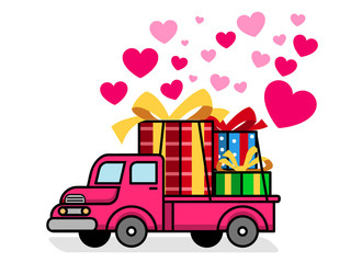 Retro Truck Delivering Lovely Gift Box