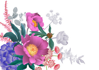 Bouquet garden flowers decoration. Template for design business cards, greeting cards.