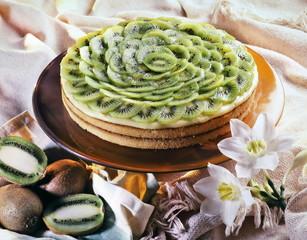 kiwi cake on the table