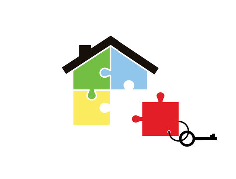 House of pieces of a puzzle and keys with a key fob missing parts isolated on white background. Business, deal, construction, shopping.