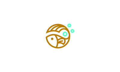 fish line art logo icon vector