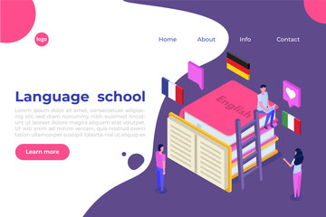 Language school, online learning. translator isometric vector illustration. Use for web pages, hero images, infographics.