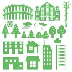 町並み・建築物のシンプルアイコン -Simple icon of street·building-