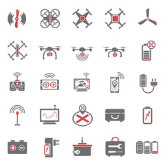 Drone red grey icons set on white background for graphic and web design, Modern simple vector sign. Internet concept. Trendy symbol for website design web button or mobile app