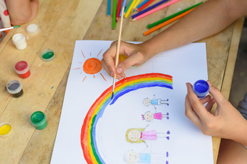 Happy family concept. Child draws on a sheet of paper: father, mother, boy and girl hold hands against background of rainbow and sunny sky. Close-up.