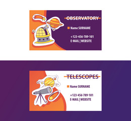 Space science business card for observatory or astronomy equipment shop vector illustration. Contact information. Planets, stars, telescope, observatory, comet stickers and patches.