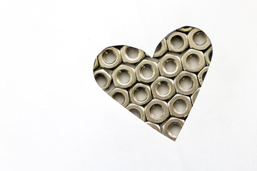 Heart shaped of Bolts with copy space.