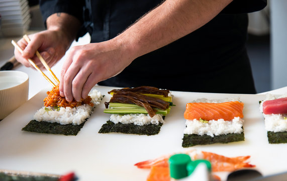 Chef making sushi in the bar