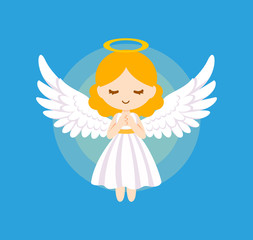 Cute angel bless vector illustration.
