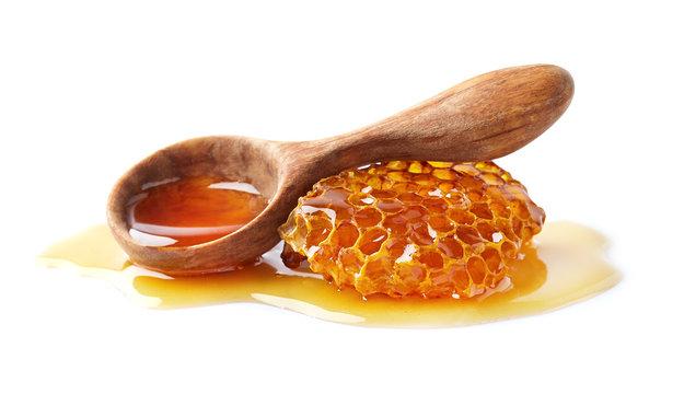 Natural honey on white background