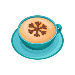 Blue cup of hot aromatic coffee with latte art in shape of snowflake of cinnamon powder. Flat vector design