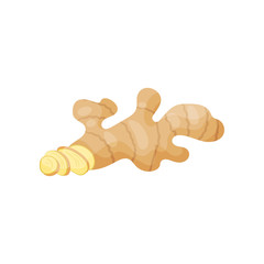 Ginger root with small cutted slices. Organic product. Healthy nutrition. Natural food. Flat vector design