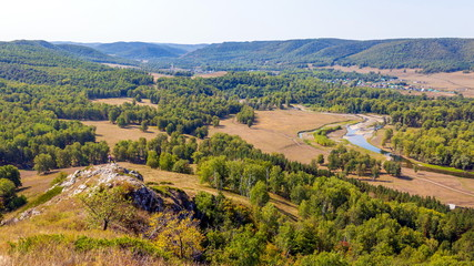 View from the top of the Ural taiga. Bashkortostan.