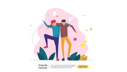 best friends forever concept for celebrating happy friendship day event. vector illustration of social relationship with people character. web landing template, banner, and print media