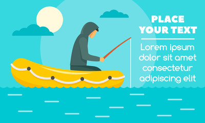 Man fishing in rubber boat concept banner. Flat illustration of man fishing in rubber boat vector concept banner for web design