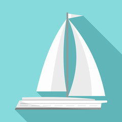 White yacht icon. Flat illustration of white yacht vector icon for web design