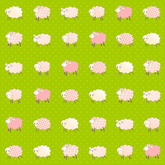 Seamless kids wallpaper with cute abstract sheep