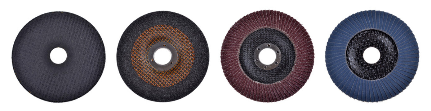 cutting discs for angle grinder isolated on white background. Top view.