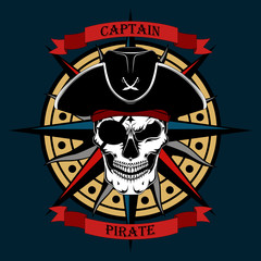 Skull of a pirate captain in a hat with a rose of winds on a dark blue background.