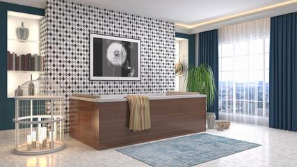 Bathroom interior. 3D illustration Wall mural