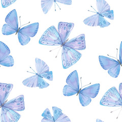 Seamless pattern with blue watercolor butterflies on white background.