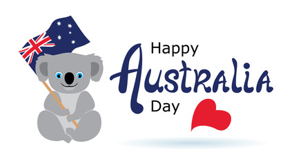 Happy Australia day lettering. Greeting card with cute Koala bear holding Australian flag. Vector image.