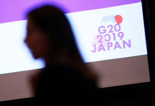 The logo of G20 Summit and Ministerial Meetings is displayed at the G20 Finance and Central Bank Deputies Meeting in Tokyo