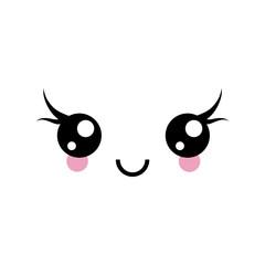 Happy Kawaii Face With Eyelashes, Cute Manga Eyes