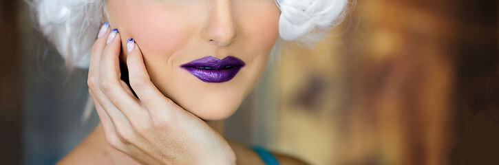 Close Up Of a Woman's Purple Lips