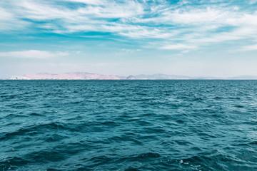 Deep Blue Sea With Island Background
