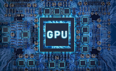 Close-up view of a modern GPU card with circuit