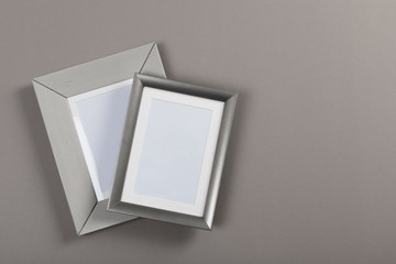 frames on gray and red background