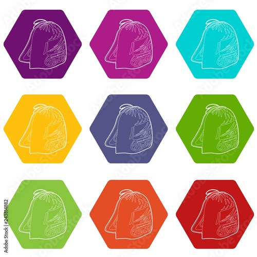 08cdf1caaf43 Sport backpack icons 9 set coloful isolated on white for web
