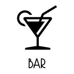Logotipo con texto BAR con copa de cocktail en color negro
