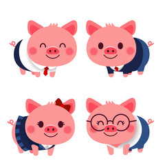 Vector set of cute pig characters in different costume isolated on white background