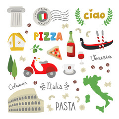 Italy vector doodle icons and symbols on white background. Italian illustrations set: architecture, food, graphic elements