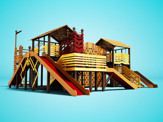 Recreational playground for children with different sports entertainment 3d render on blue background with shadow