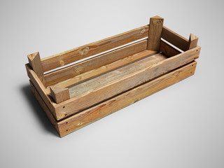 Wooden box for storing vegetable and fruit products 3d render on gray background with shadow