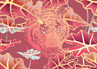 Seamless pattern. Tiger and tropic foliage. Red color.