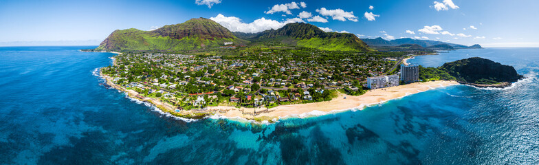Aerial panorama of the west coast of Oahu with Makaha Valley and Papaoneone beach. Hawaii, USA
