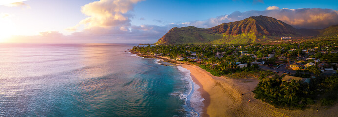 Aerial panorama of the West coast of Oahu, area of Papaoneone beach. Hawaii, USA