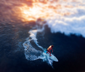 Fototapete - Aerial view of the young man surfs the wave at sunset. Tilt shift effect applied