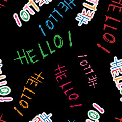 """Vector illustration of the calligraphy word """"Hello!"""". Seamless pattern of the words """"Hello!"""""""