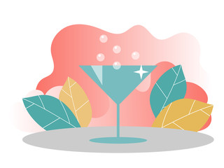 Illustration of cocktail. Concept for web banners. Template for landing page