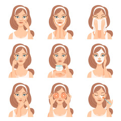 Attractive young woman caring for her face with cosmetics, beauty routine steps, facial treatment procedures vector Illustration