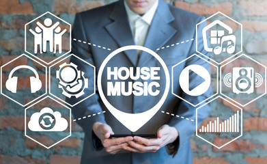 House music concept. Sound recreation club. Smartphone music app storage and store.