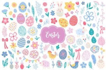 Easter design elements - eggs, hen, sheep, rabbit, leaves, flowers, tulips