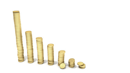 concept of economic growth stacks of coins from smaller to larger 3d render on white
